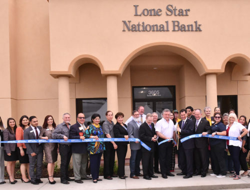 Pictured, Alonzo Cantu, Charmain of Lone Star National Bank; McAllen Mayor Jim Darling and David Deanda, LSNB president. They were accompanied by dozens of guests to celebrate this event. Lone Star National Bank is located at 3605 Buddy Owens Blvd. Photo by Roberto Hugo Gonzalez